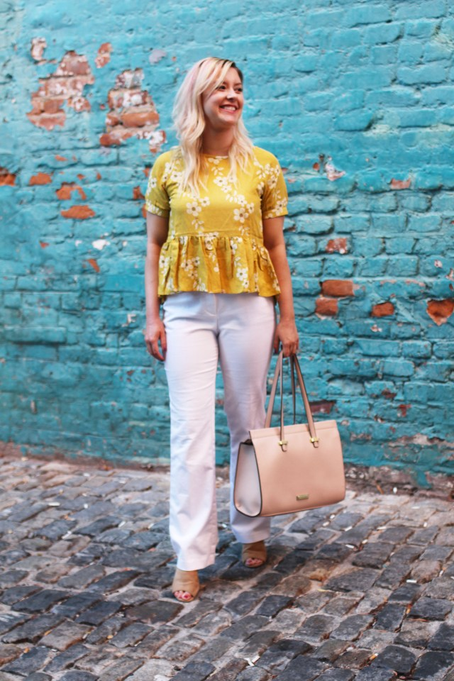 yellow floral peplum top outfit