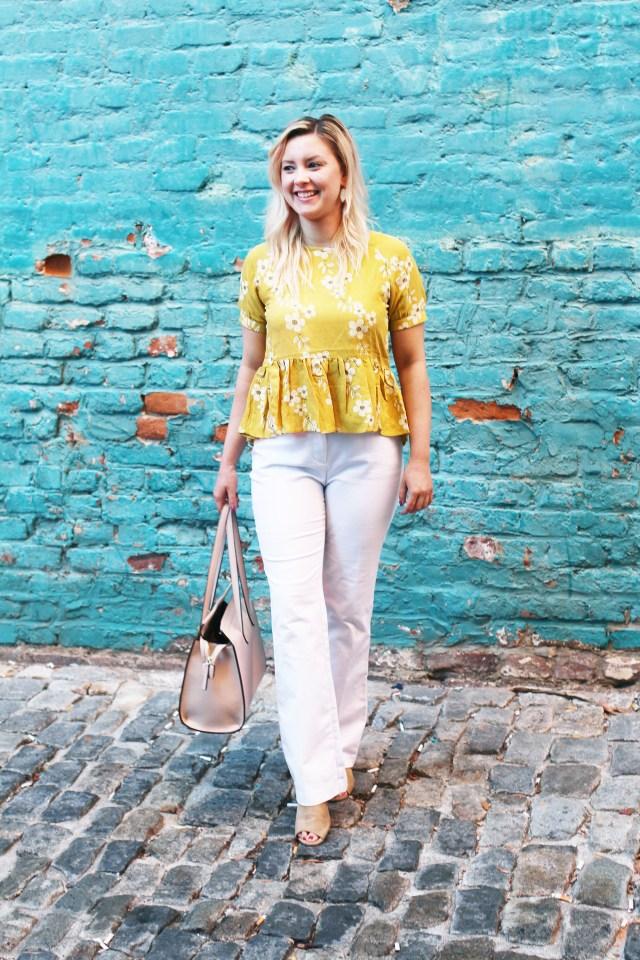 yellow floral peplum shirt