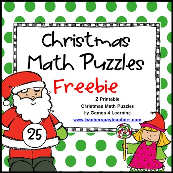 Christmas Math Puzzles - Get 10 FREE Educational Downloads + up to 28% Off: Cyber Monday & Tuesday Sale #SCRF