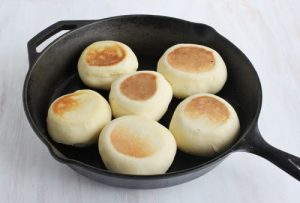 Homemade English Muffins in Cast Iron Skillet