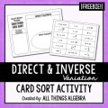 Direct & Inverse Variation - Equations Card Sort