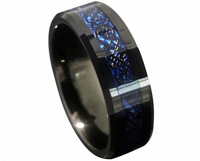 8mm Blue Black Silvering Celtic Dragon Tungsten Carbide Ring #giftguide #2015 #holiday