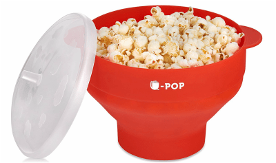 Microwave Silicone Popcorn Popper   Collapsible Bowl   FDA Approved, BPA Free and Dishwasher Safe   50 Free Popcorn Recipe EBook by U-POP