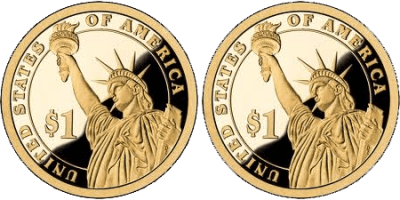 Two US $1 Liberty Coins