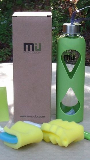 NEW! MIU COLOR Glass Bottle With Anti-slip Silicone Sleeve in Shamrock Green