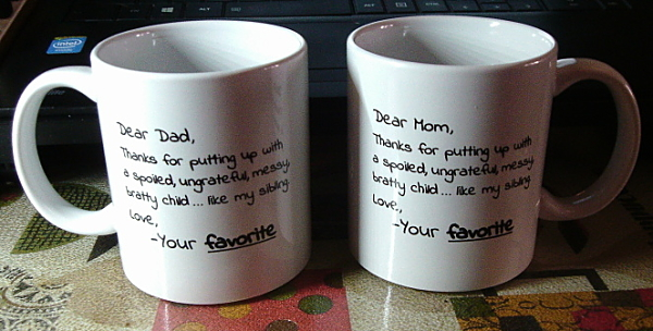 Dear Mom AND Dad, From Your Favorite Funny Coffee Mug