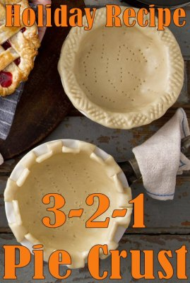 3-2-1 #Pie Crust #Recipe - The simple formula of 3 parts flour, 2 parts fat, and 1 part water makes this one of the easiest pie crust recipes we've ever made. #Holiday #Baking #Food #Dessert