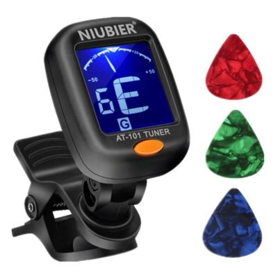 No matter acoustic, electric, or classical - Guitar, Ukulele, Bass, Violin, Mandolin, or Banjo - Tune your instrument with this digital clip-on tuner.