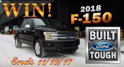 FORD F150 FUTURE OF TOUGH SWEEPSTAKES WIN