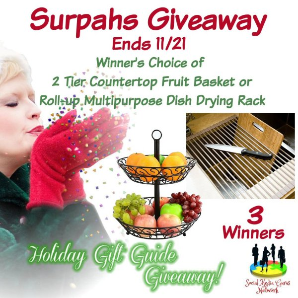 HOLIDAY GIFT GUIDE GIVEAWAY - Surpahs Giveaway 3 win