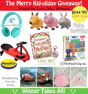 Enter to Win $244 worth of Prizes in the Merry Kid-oliday Giveaway! Ends 12/14/17