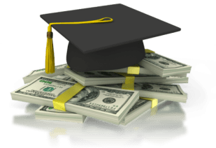 Paying for a college education - cap and money