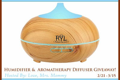 Humidifier & Aromatherapy Diffuser Giveaway Ends 3/15