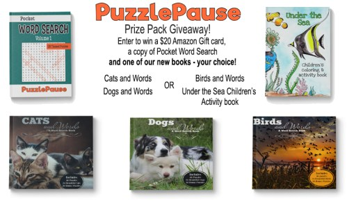 One lucky winner gets two great prizes when this PuzzlePause Prize Pack and $20 #Amazon Gift Card #Giveaway ends 9/4 #Win #Winit #Winning #Sweeps #Sweepstake #Sweepstakes #Contest #ContestAlert #Competition #GiveawayAlert #Prize