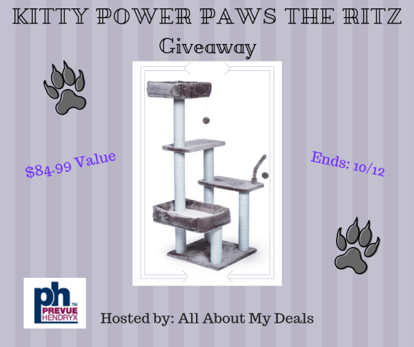 ? Your Feline friends will love this #prize! ? Enter for a chance to #Win The Kitty Power Paws The Ritz #Cat Tree before this #Giveaway Ends 10/12 #Winit #Winning #Sweeps #Sweepstake #Contest #ContestAlert #Competition #GiveawayAlert #Free #Gift