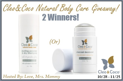 Two winners will receive their choice of either aCharcoal DeodorantORDusting Powder & Dry Shampoowhen this Natural Body Care Giveaway ends 11/25! #Win #Winit #Sweeps #ContestAlert #Competition #Giveaway #GiveawayAlert #Prize #Free #Gift