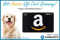 Thanks to KarmaPets Calming Treats for Dogs one lucky winner will receive a $50 Amazon Gift Card when this giveaway ends 11/14! Open Worldwide! #Win #Winit #Sweeps #Sweepstake #Giveaway #GiveawayAlert #Prize #Free #Gift