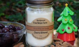 Cherry and Almond Free Reign Farm Wood Wick Soy Candle - Burn Clean & Crackle - This Free Reign Farm Soy Candle Has The Perfect Wood Wick!