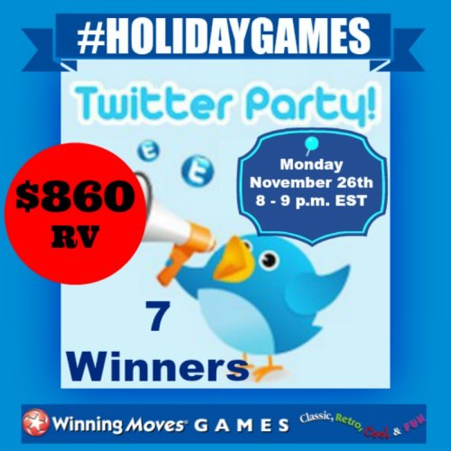 #HOLIDAYGAMES Twitter Party is coming Nov 26th!!! 🎲 7 WIN ~ $860 in PRIZES