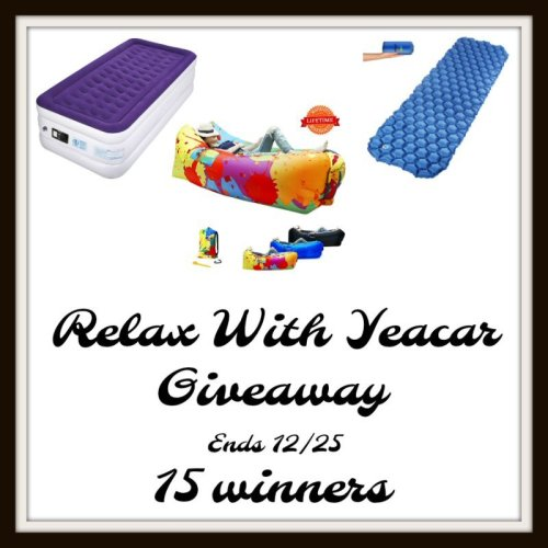 15 winners will Relax with Yeacar Inflatable Products when this #Holiday #Giveaway ends 12/25 #SMGN #GiftGuide #Winit #Sweeps #ContestAlert #GiveawayAlert #Prize #Free #Gift #Christmas