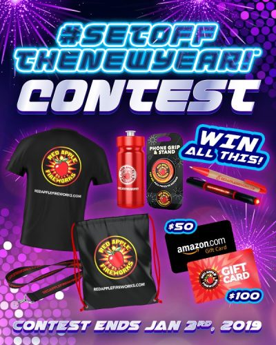 Enter to #WIN a $100 Red Apple® #Fireworks and $50 #Amazon gift cards plus a swag bag when this #SetOffTheNewYear #Giveaway #contest ends January 3rd. #redapplefireworks #newyear #newyearseve #nyefireworks #nye