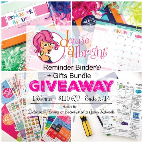 Valentine's Day Gift Guide #Giveaway for a Denise Albright Reminder Binder® + Gifts Bundle ends 2/14 #GiftGuide #Win #SMGN #ValentinesDay #GiftIdea