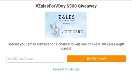 Want Diamonds for #ValentinesDay? Zales is giving away five $100 eGiftcards! Enter for your chance to #win before their #ZalesForVDay #giveway ends 1/31.