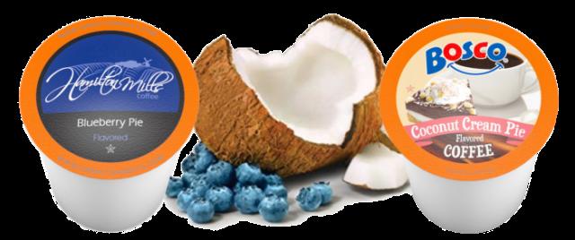 Hamilton Mills Blueberry Pie Flavored Coffee or Bosco Coconut Cream Pie Flavored Coffee