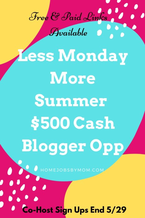 #Blogger Opportunity: Less Monday More Summer $500 Cash #Giveaway SIGN UPS Close 5/29 #BloggerOpp #BloggerOpportunity #Blogging #BloggersOpp