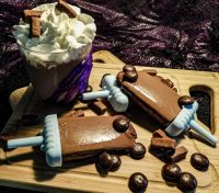 Frozen Hot Chocolate! We're Enjoying Our Favorite Tootsie Roll Hot Cocoas Cold For The Ultimate Hot Chocolate Experience! #HotChocolate #Dessert #TrickorTreat #Halloweeen #FrozenTreat #Food #Recipe