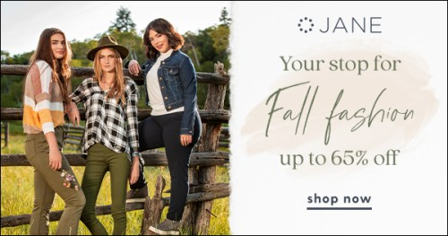 It's a sale! Great looks, even better prices from our favorite daily deal site. Jane is offering the latest trends in fashion and home decor at some of the best prices of the year. #Sale #72HourSale #Fashion #Clothing #Fall #Autumn #Shoes #Accessories