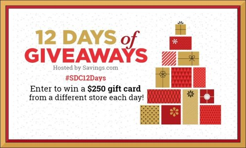 12 Days Of Giveaways - Enter To Win A $250 Gift Card Daily Until November 22nd!! #DaysofGiveaways #Win #SDC12Days #Giveaway