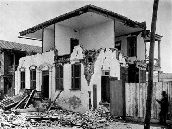 On August 31, 1886, Charleston was nearly destroyed by an earthquake. The shock was estimated to have a moment magnitude of 7.0 and a maximum Mercalli intensity of X (Extreme). It was felt as far away as Boston to the north, Chicago and Milwaukee to the northwest, as far west as New Orleans, as far south as Cuba, and as far east as Bermuda. It damaged 2,000 buildings in Charleston and caused $6 million worth of damage ($152 million in 2018 dollars), at a time when all the city's buildings were valued around $24 million ($609 million in 2018 dollars).