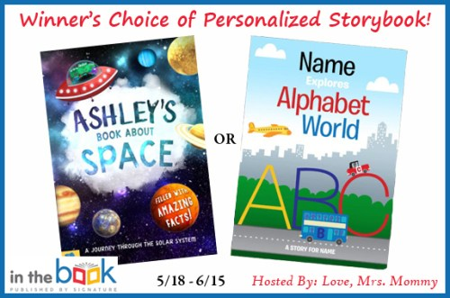 The winner of this giveaway will receive their choice of personalized storybook:My Book About SpaceORAlphabet World!