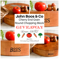 """Enter below for the chance to be the lucky winner who will win a John Boos & Co 18"""" Cherry End Grain Round Chopping Block Valued at $282!"""