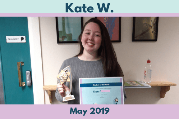 The Sweet Symphony Student of the Month winner for May 2019 is Singing Student Kate.