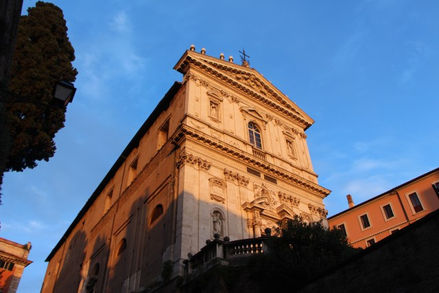 Sunset Highlights a Church in Rome