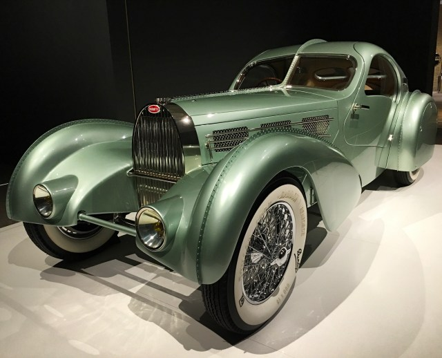 1935 Bugatti Type 57S Aerolithe (Reproduction). Only one was produced and it is unknown as to what happened to the original. The Guild of Automotive Restorers in Ontario, Canada, recreated this Bugatti using techniques and materials from the 1935 creation.