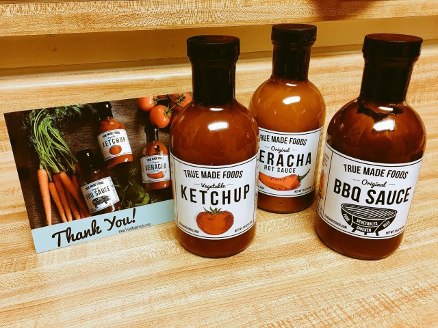 A True Made Foods Trio: Ketchup, BBQ Sauce, and Veracha