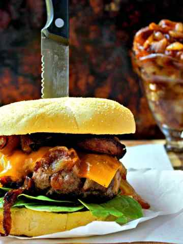 Bacon Burgers with Caramelized Onions - Sweet Tea & Thyme