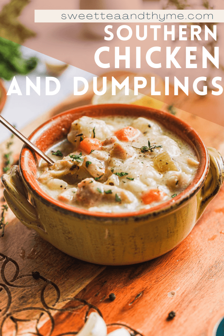 pinterest pin for southern creamy chicken and dumplings