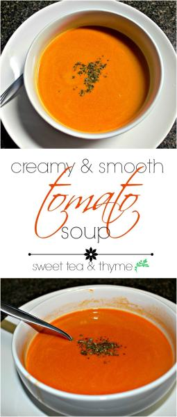 A homemade version of Campbell's tomato soup is made with lots of flavorful spices, aromatics, and herbs in less than an hour. Your childhood is calling!