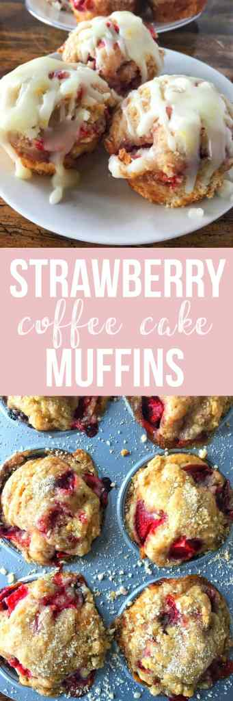 Miniature strawberry coffee cake muffins are not only topped with fresh strawberries, but have them mixed into the batter and are sprinkled with a divine sugar streusel. Welcome Spring!