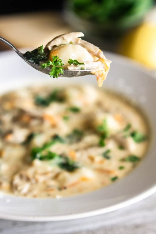 A close up shot of a spoonful of chicken and gnocchi soup, showing gnocchi, chicken, carrots, spinach, and parsley, with the bowl of soup and soup ingredients in the background on Sweet Tea and Thyme | www.sweetteaandthyme.com