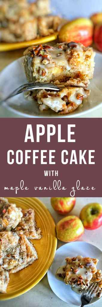 Apple coffee cake is the ultimate fall dessert! Tender and moist, with a brown sugar-pecan swirl throughout, and cinnamon-sugar streusel on top. Don't forget that maple-vanilla glaze!