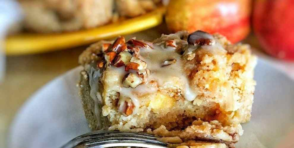 Apple coffee cake is tender and moist, with a brown sugar-pecan swirl throughout, and cinnamon-sugar streusel on top. Don't forget that maple-vanilla glaze!
