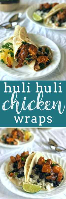 Huli Huli Chicken wraps are super easy and quick to whip up with a tangy, spicy, sweet and savory marinade and sauce full of Hawaiian-inspired flavors and filled with your favorite fixin's.