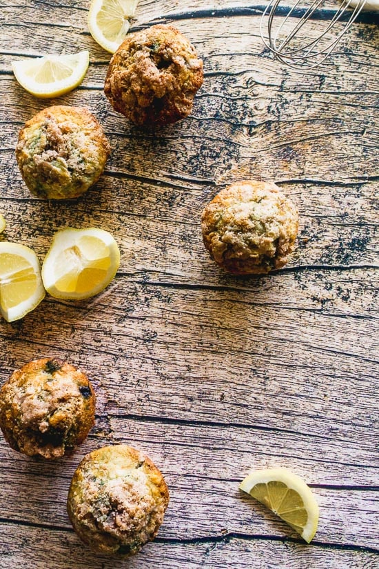 overhead shot of lemon blueberry muffins on a wooden table