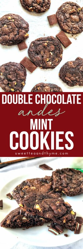Double Chocolate Andes Mint Cookies are chewy and rich, with both minty Andes mint candy bits and chocolate chips baked into a soft, chocolate cookie.