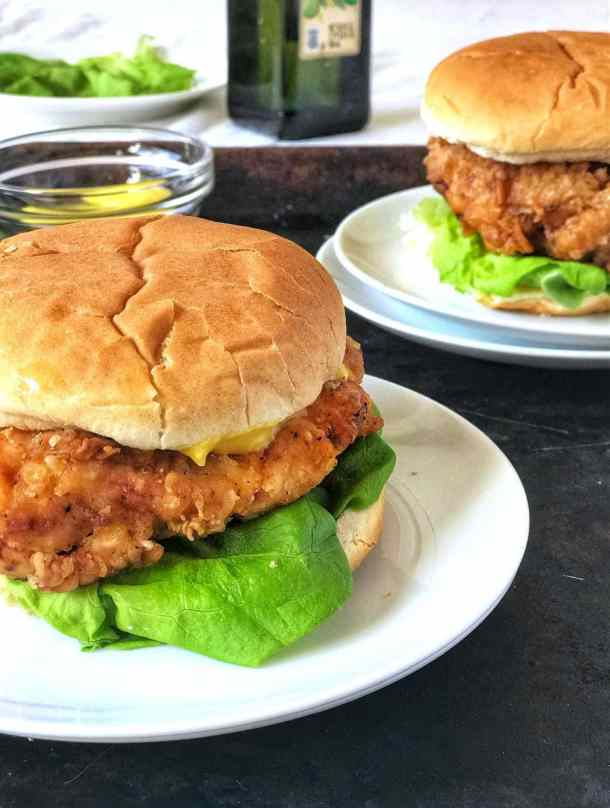 These crispy chicken sandwiches will satisfy any fast food craving. The chicken is juicy, flavorful, and the breading is extra crisp and crunchy! Paired with some homemade crispy fries? Just forget about the fast food joint, you won't need it.